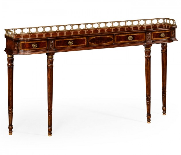 Narrow Galleried Mahogany Console