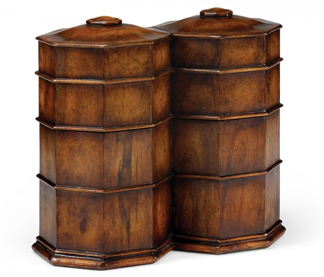 Pair of Glass Decanters in Conjoined Octagonal Walnut Cases