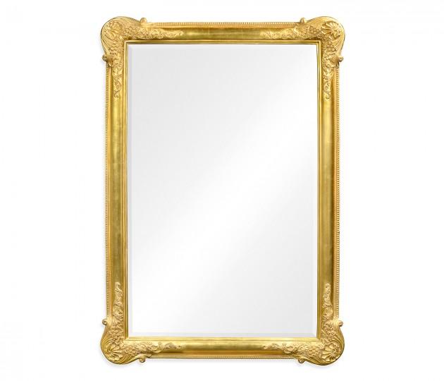 French 19th century tall rectangular gilded mirror (Plain)