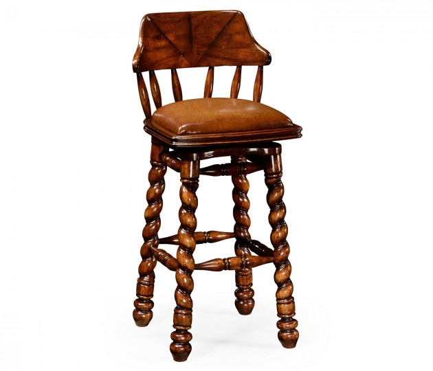 Country style walnut leather barstool with barley twist legs
