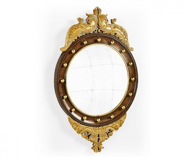 Regency walnut & gilt round convex �glomis� mirror (Small)