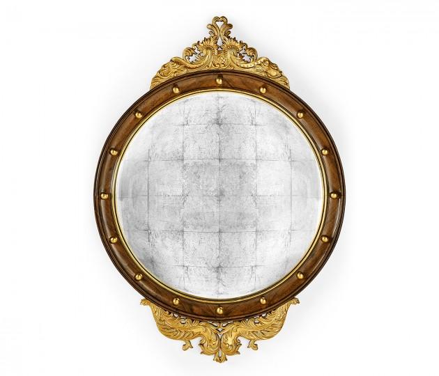 Regency walnut & gilt round convex �glomis� mirror (Large)