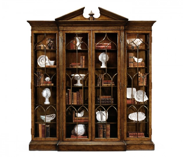 Triple Breakfront Walnut Display Cabinet with Pediment