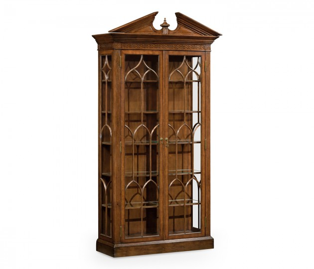 Glazed Walnut Display Cabinet