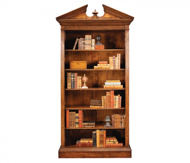 Walnut Open Bookcase with Pediment