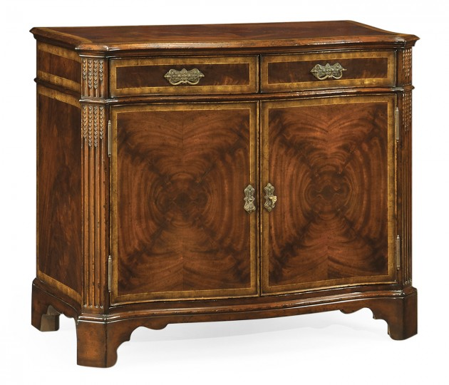 Serpentine Two Door Mahogany Cabinet