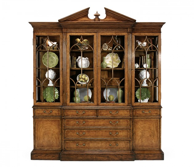 Triple Walnut Display Cabinet with Drawers