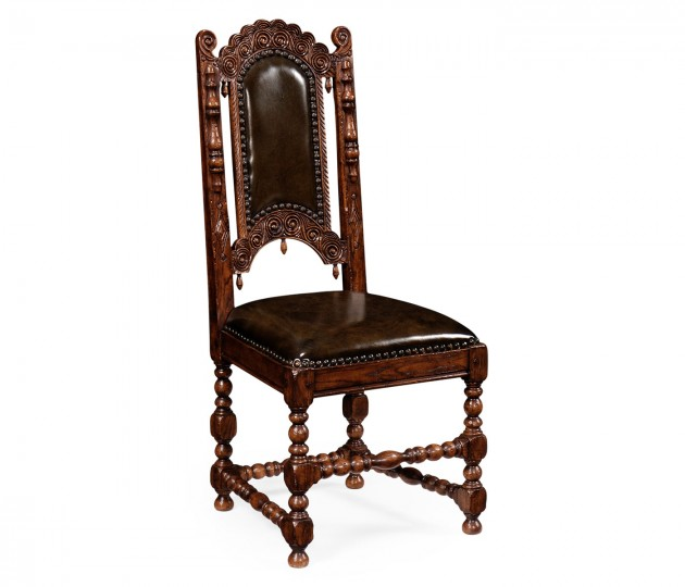 Elizabethan Style Dark Oak Side Chair with Medium English Library Green Leather