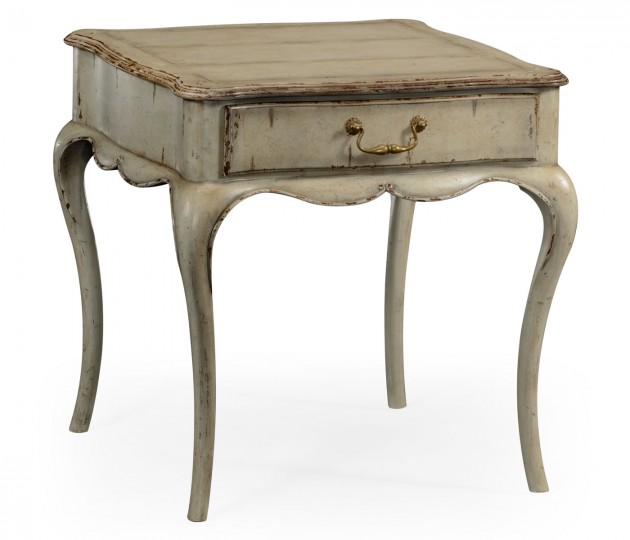 Grey rub-through square side table