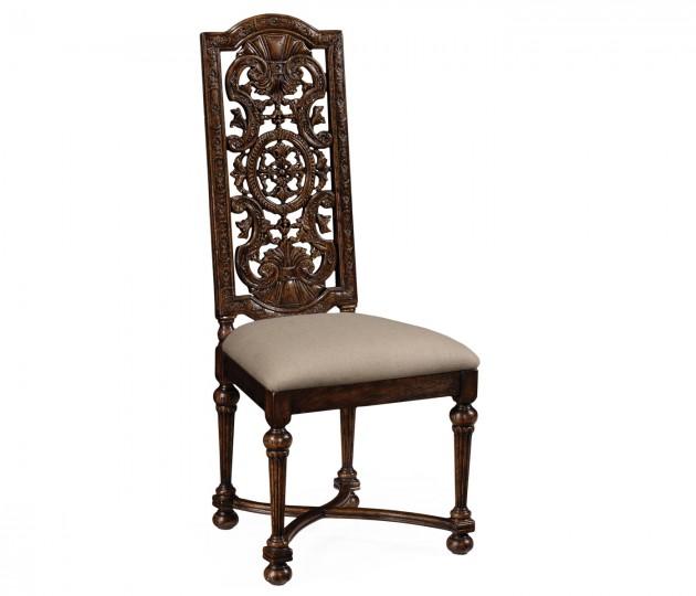 Jacobean style dark oak chair pierced back (Side)