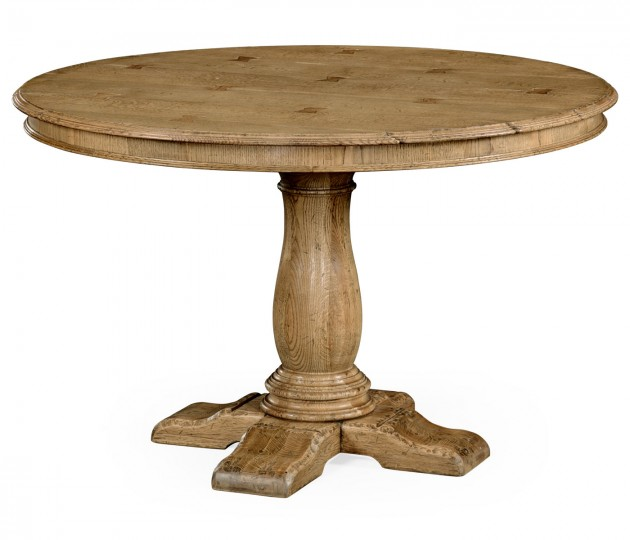 48'' Round natural oak dining table