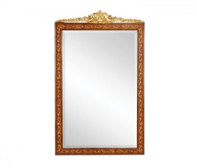 Louis XVI Style Inlaid & Gilded Rectangular Mirror