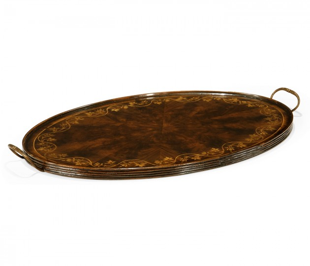 Oval Mahogany Tray with Floral Inlay