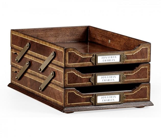 Victorian Style Mahogany Triple Letter Tray