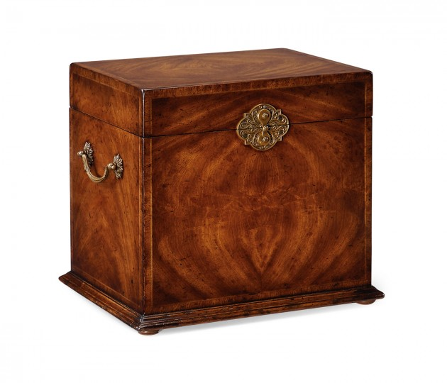 Tall Square Crotch Walnut Jewellery Box