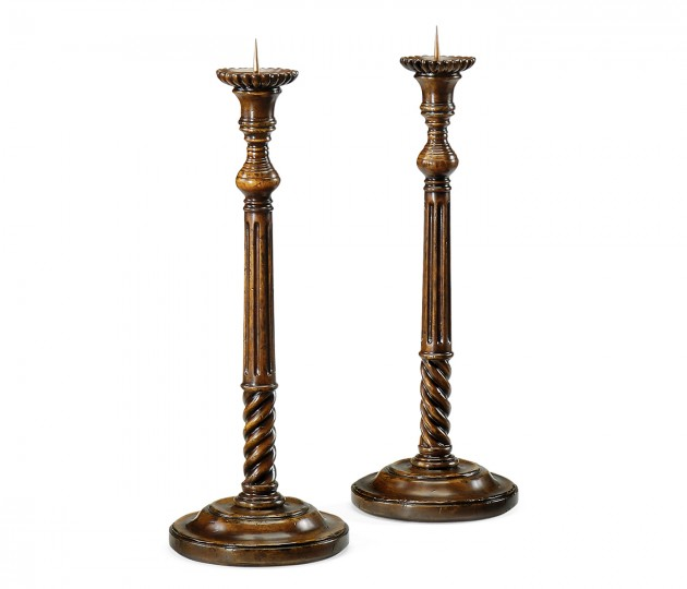 Pair of Tall Fluted Walnut Candlesticks