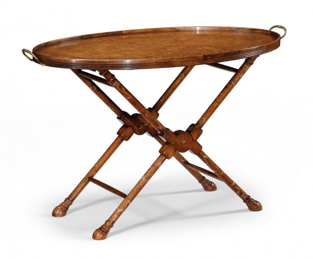 Oval Burl Walnut Tray on Stand with Floral Inlay