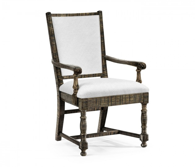 Distressed Country Dark Driftwood Arm Chair, Upholstered in COM