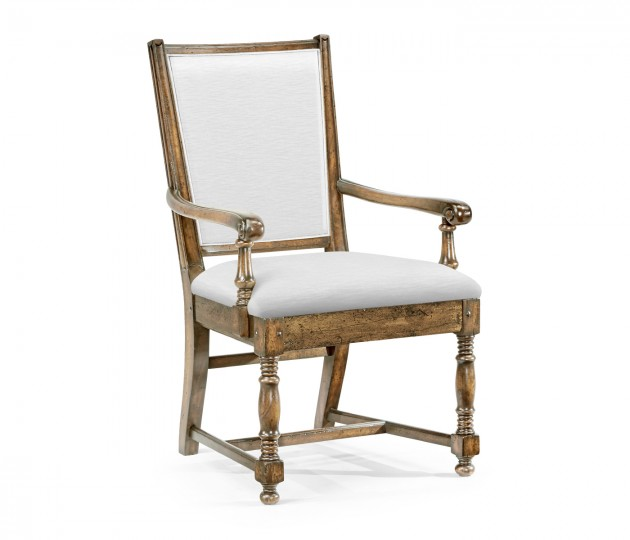 Distressed Country Medium Driftwood Arm Chair, Upholstered in COM