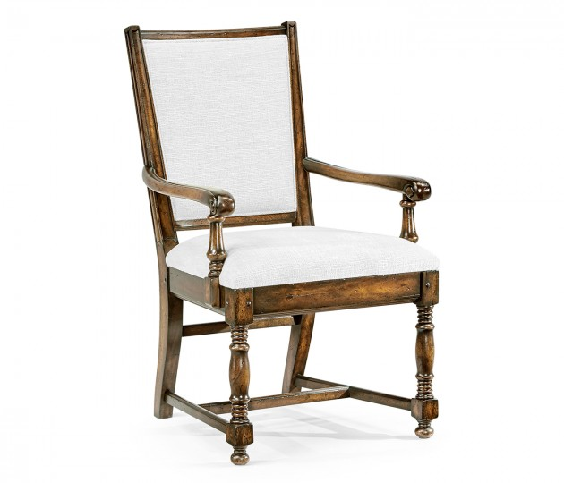 Distressed Country Golden Ale Arm Chair, Upholstered in COM