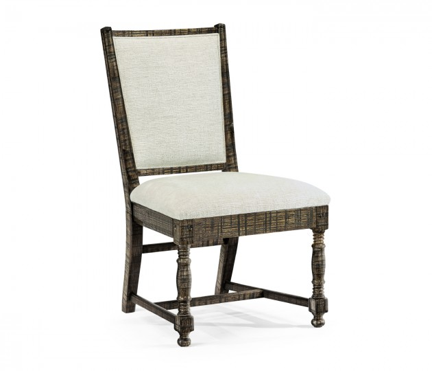Distressed Country Dark Driftwood Side Chair, Upholstered in Shambala