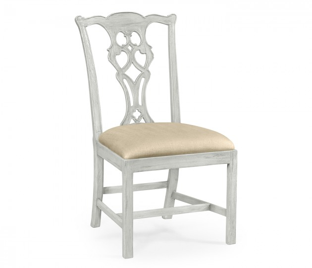 Grey Mahogany Chippendale Style Side Chair, Upholstered in MAZO