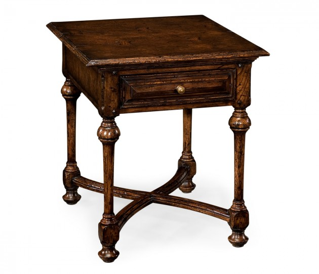 Elizabethan dark oak square side table