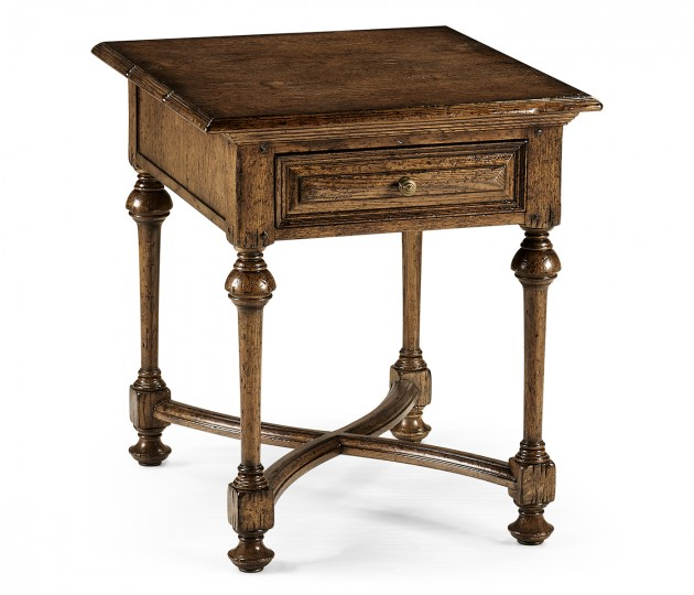 Elizabethan dark oak square side table