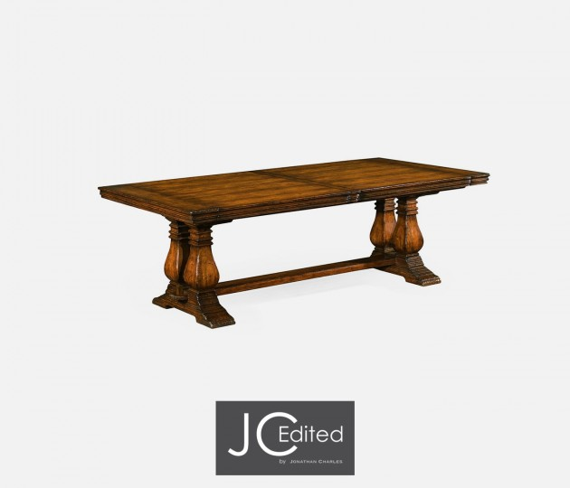 Figured Walnut Large Extending Refectory Table
