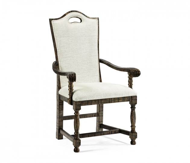 High Back Dark Driftwood Dining Arm Chair, Upholstered in Shambala