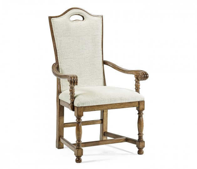 High Back Medium Driftwood Dining Armchair, Upholstered in Shambala