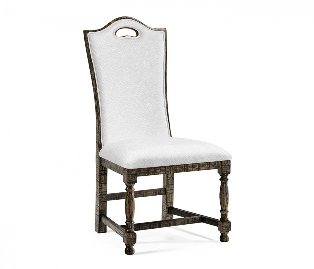 High Back Dark Driftwood Dining Side Chair, Upholstered in COM