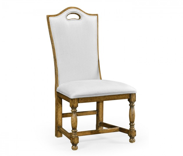 Light Brown Chesnut High Back Side Chair, Upholstered in COM