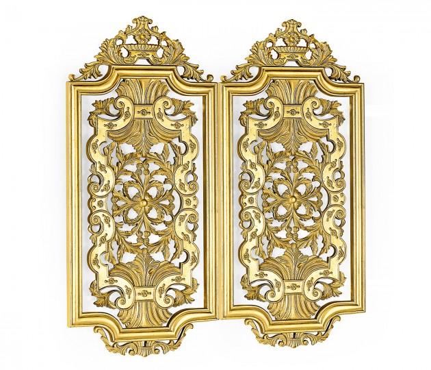 Pair gilded Renaissance style panels (Short)