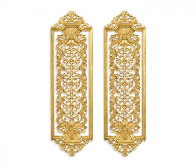 Pair Gilded Renaissance Style Panels (Tall)