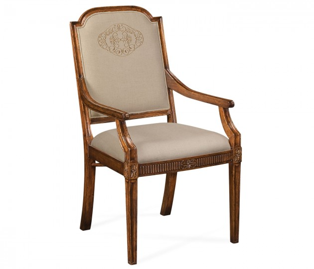 Upholstered dining chair with gold embroidery (Arm)