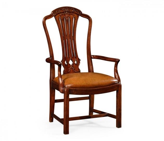 Mahogany pierced splat back armchair with medium antique chestnut leather