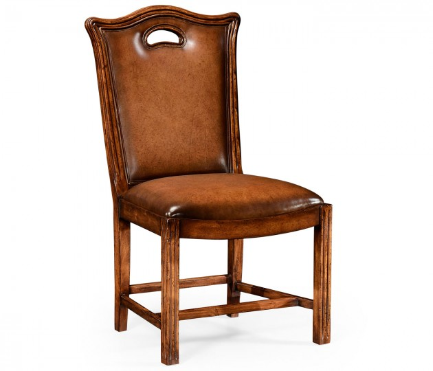 Chippendale country side chair leather upholstery with medium antique chestnut leather