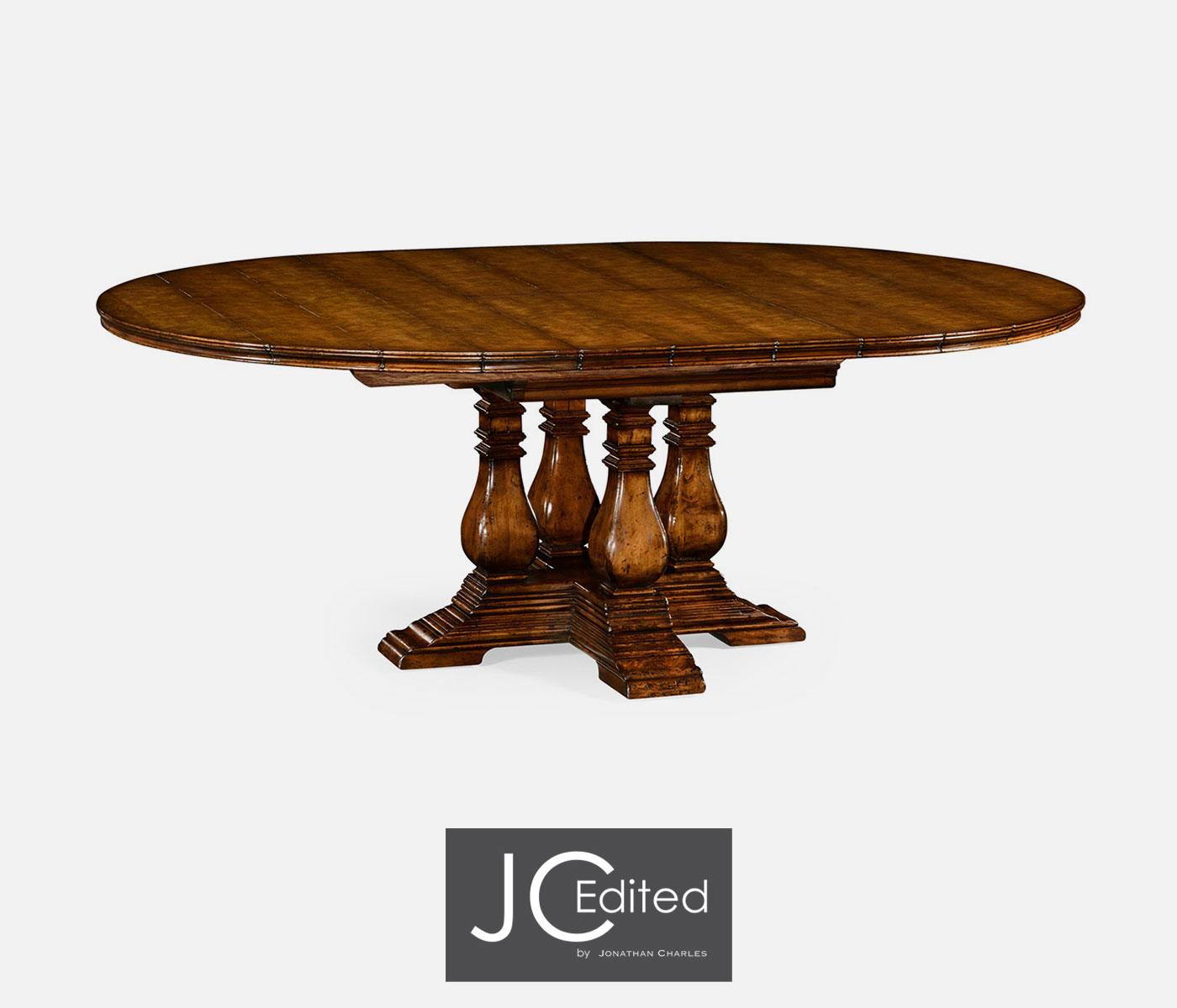 54 Country Walnut Round Extending Dining Table