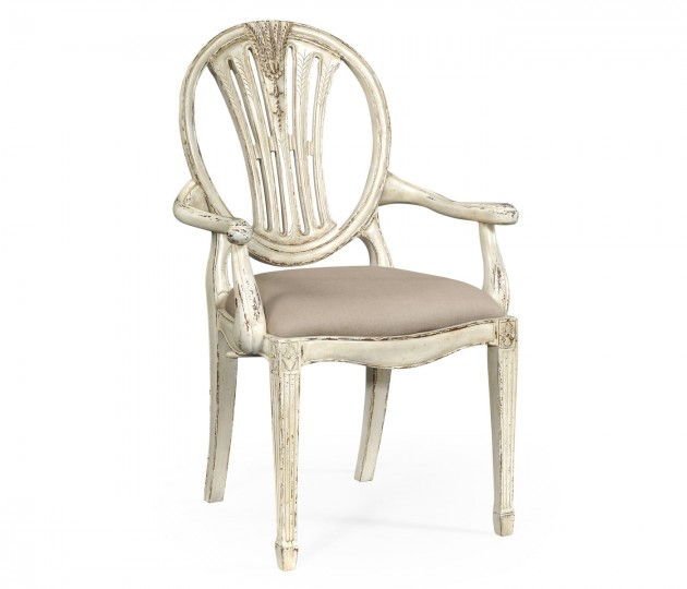Hepplewhite Wheatsheaf Arm Chair (Off-White)