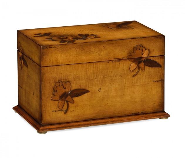 Walnut raised floral rectangular box