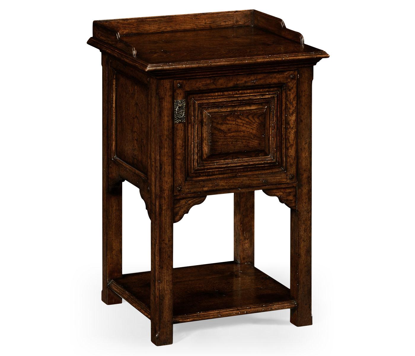 Elizabethan Style Dark Oak Bedside Table