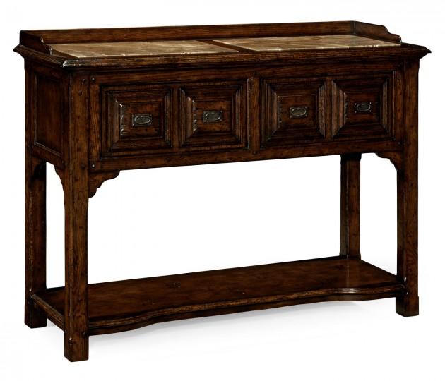 Tudor style dark oak buffet or serving table