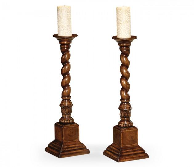 Pair of Tall Walnut & Oyster Candlesticks