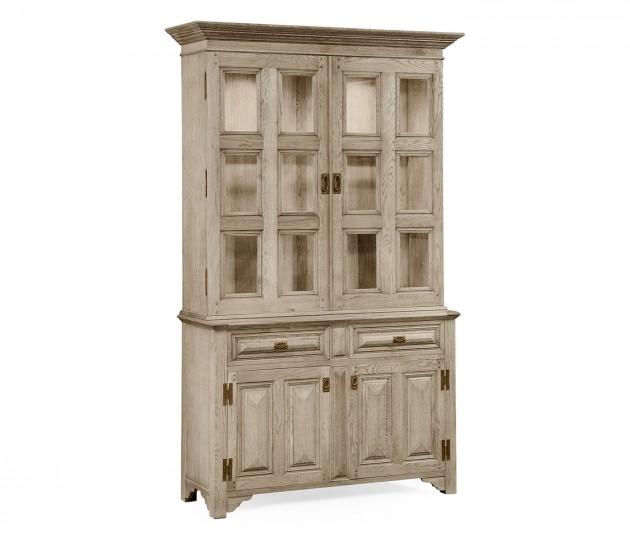 Tudorbethan Grey Oak China Cabinet