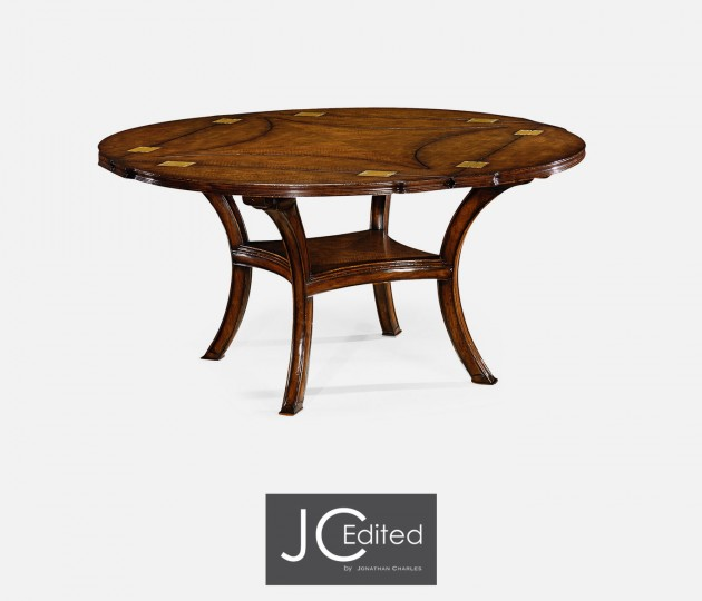 Figured Walnut Square To Circle Dining Table