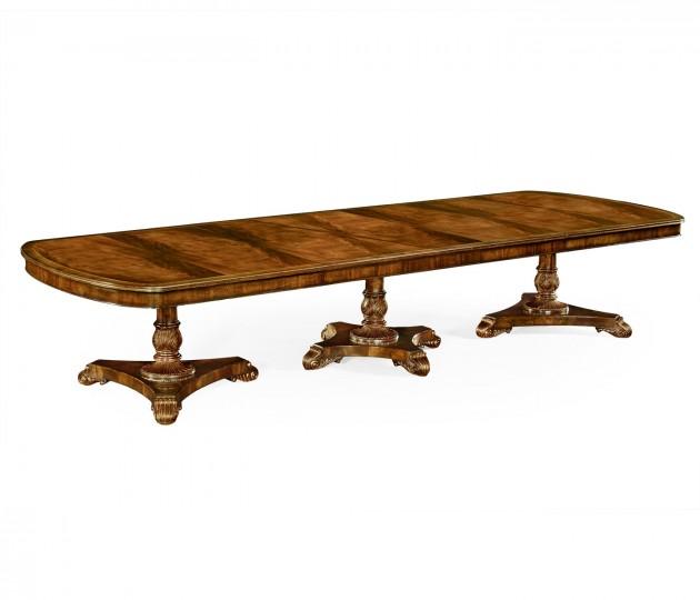 Crotch Walnut Triple Pedestal Dining Table