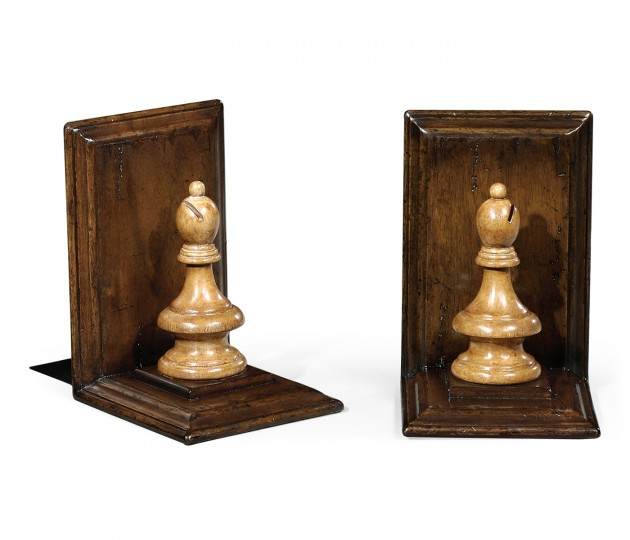 Pair of Bishop Walnut Chess Piece Bookends