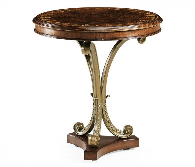 Mahogany & Brass Round Side Table