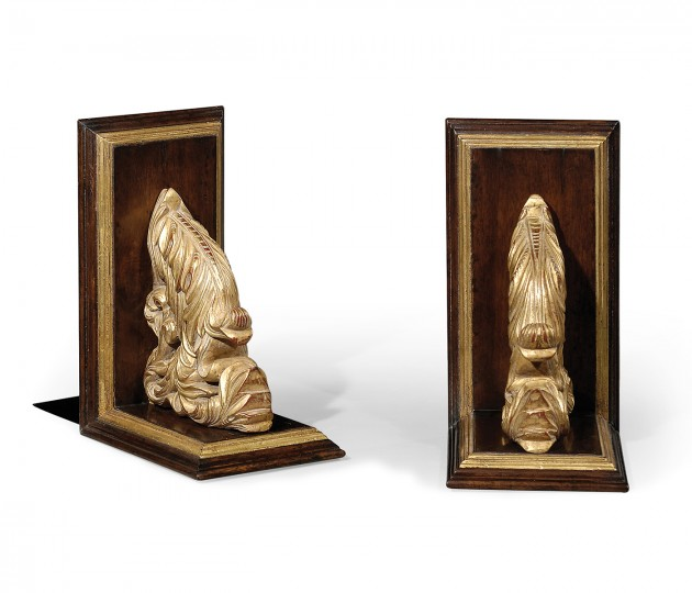 Pair of Gilded Leaf & Walnut Bookends
